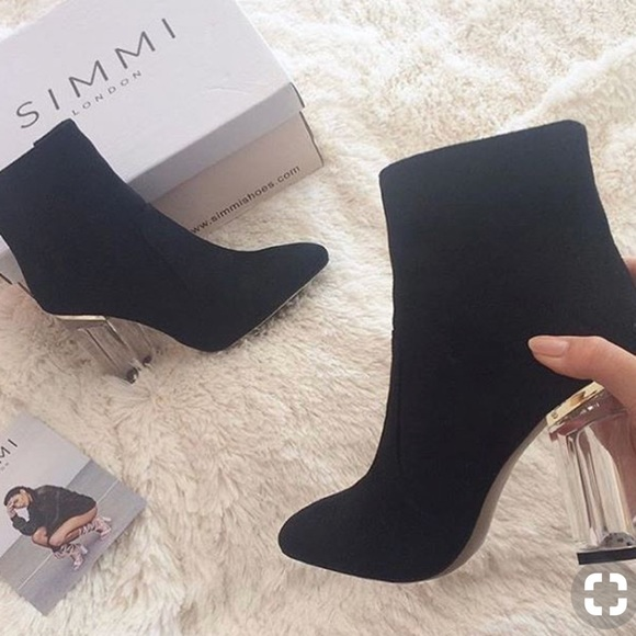 ec613b6a3aaf SIMMI London Suede Ankle Boots with Clear Heel. M 5ac54ac4fcdc314b04be44e5